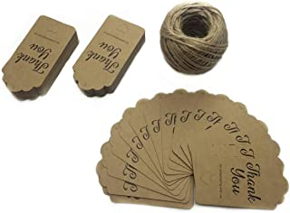 ZoraSelena Kraft Paper Gift Tags,Thank You Tags 100 PCS for Celebrating with US Tags,Hollow Heart Wedding Favor Tags Personalized with String,Jute Twine 131 Feet for Crafts and Baby Shower