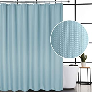 CAROMIO Blue Shower Curtain 78 Inches Long, Waffle Woven Textured Polyester Fabric Shower Curtain for Bathroom Washable, Blue, 72x78 Inch