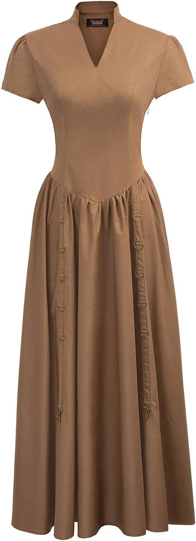 SCARLET DARKNESS Women Victorian Vintage Steampunk Short Sleeve VNeck Long Dress