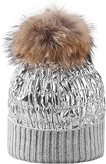 Iusun Unisex Winter Warm Beanie Earmuffs Hat Mane Ball Collar Set Thick Warm Skull Slouch Stretch Cycling Cap with Pom Pom