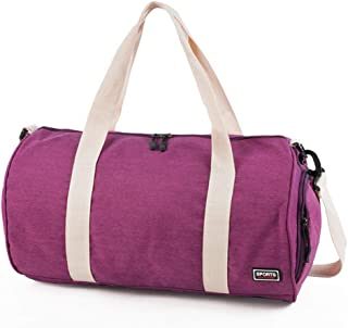 Large Foldable Duffle Bag, Travel Luggage Bag, Sports Gym Bag, Adjustable Shoulder Strap, Separate Shoe Compartment, Overnight Camping (Color : Purple)