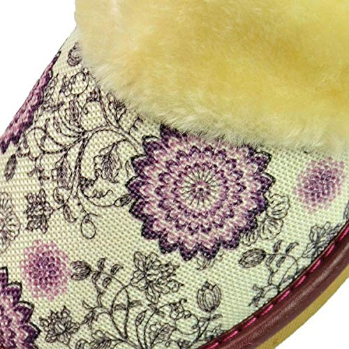 ypyrhh Unisex Home Slippers mit rutschfeste,Bedruckte Hausschuhe aus Leinenbaumwolle,Paar Hausschuhe-lila-39-40,Memory Foam Wärme Bequem Plüsch Pantoffeln