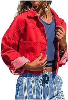 neveraway Women Long-Sleeve Denim Button Down Oversized Denim Jacket Coat