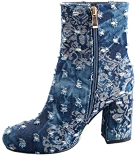 RAZAMAZA Women Fashion High Heel Ankle Boots Round Toe Autumn Boots Floral Zipper KongQueLan Size 38 Asian Blue