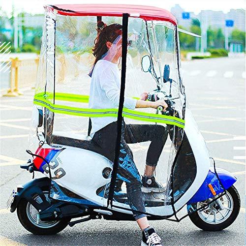 XLBHSH Motor Scooter Umbrella Mobility Sun Shade Cubierta de Lluvia Impermeable, Parabrisas ampliadas, Cortina Transparente Completamente Cerrada, Parabrisas de Visera Solar de Motocicleta,Rojo