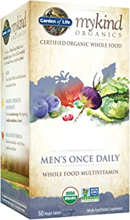 Garden of Life Multivitamin for Men - mykind Organic Men's Once Daily Whole Food Vitamin Supplement, Vegan, 60 Tablets