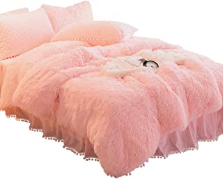 YOUHAM Solid Fluffy 1PC Faux Fur Plush Duvet Cover Luxury Shaggy Velvet Bedspread Zipper Closure (Queen, Pink)