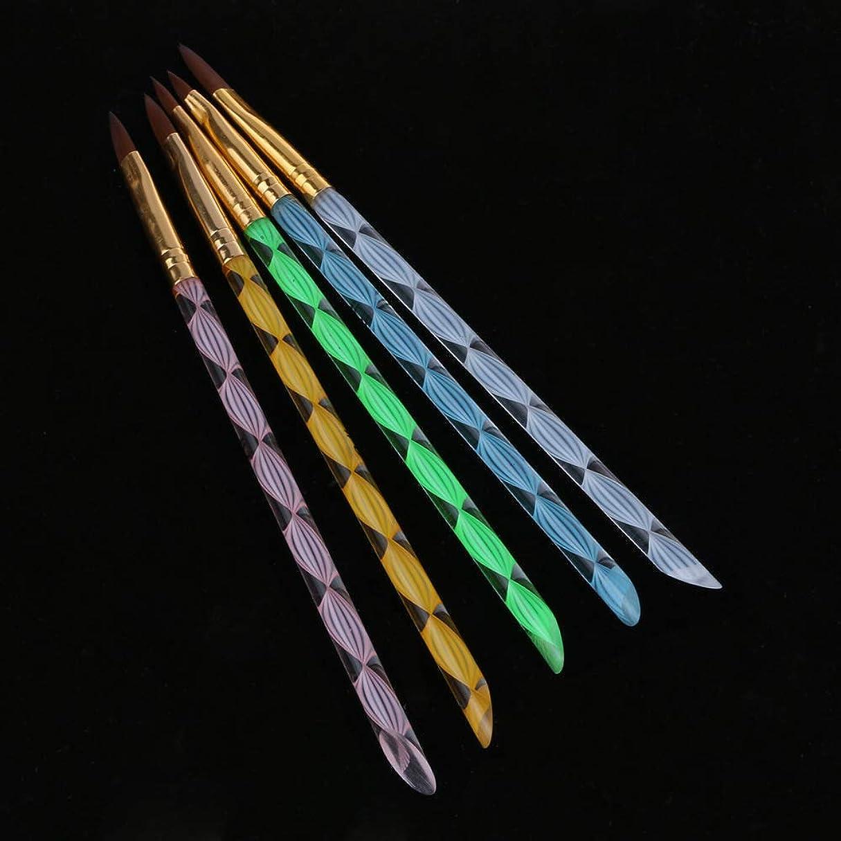 一目助手認可5PCS UVジェル ネイルアート ブラシ ペイントペンスパイラルネイルデザインクリスタルプロ 使用 家