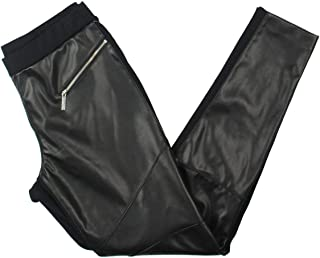 Womens Faux Leather Mid-Rise Leggings