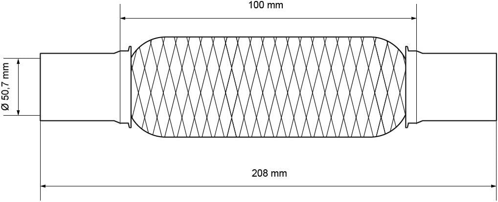 ECD Germany Universal Flexrohr Edelstahl Interlock 50 x 230 mm mit 2 Schellen Montage ohne Schwei/ßen Flexst/ück Wellrohr Hosenrohr Flexibles Rohr