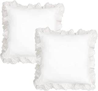 TEALP European Pillow Shams Cover Rustic Farmhouse Lace Shabby Soft Breathable Bridal Pure White Ruffled White Eyelet Lace Set of 2