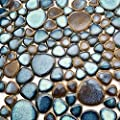 Hominter 6-Sheets Pebble Porcelain Tile Mixed Aqua and Brown, Glazed Ceramic Mosaic Heart-Shaped Pebbles, Swimming Pool Kitchen Backsplash Bath Shower Wall & Floor Tiles CZG619A