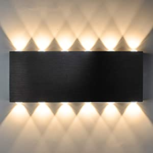 Bjour Modern Wall Sconces Black 24W LED Wall Sconce Hardwired Indoor Up Down Wall Lamp 12.6 Inch Home Theater Lights for Bedroom Living Room Hallway, Warm White, Not Dimmable