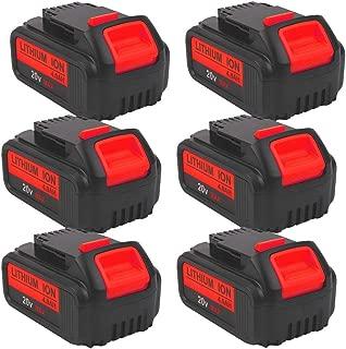 6-Pack 4000mAh 20V DCB204 Battery Replacement for Dewalt 20-Volt MAX XR Lithium ion Batteries DCB205 DCB200 DCB203 DCB206 DCB205-2 DCB180 DCD985B DCD771 DCB201