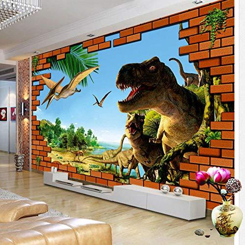 Gangbeng mural autoadhesivos Materiales no tejidos mural personalizado de papel fotográfico en 3D 400*280CM, Baldosa de pared rota de un dinosaurio, Papel Pintado para Sala de Estar Pegatina Paredes M