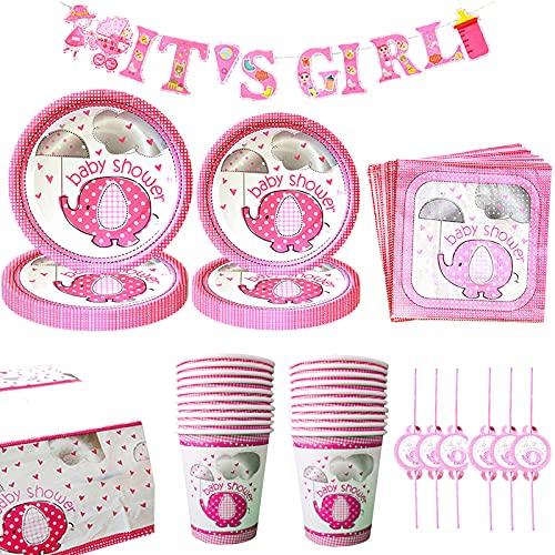 Amycute Baby Shower Ragazze Kit, It's A Girl Striscioni, Piatti di Carta, Tovaglia, Bicchieri, Tovaglioli, Stoviglie per Baby Shower Ragazze