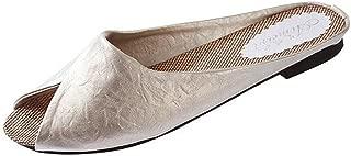 Women Ladies Summer Flat Sandals Slippers Moccasins,Slip on Indoor Outdoor Wide Width Comfort House Shoes