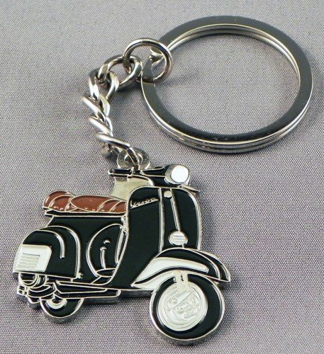 Metal Enamel Keyring Black Vespa MOD Scooter by Mainly Metal