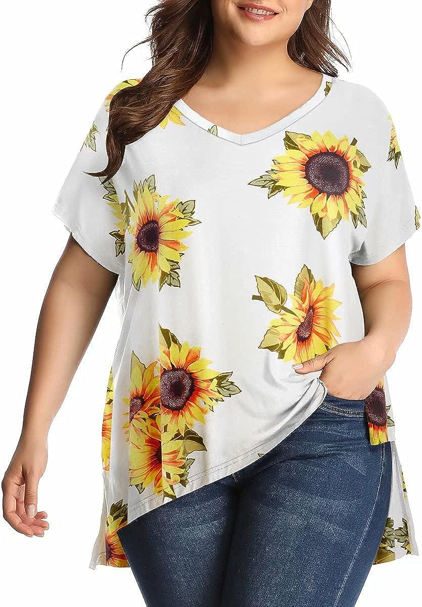 LARACE Womens Plus Size Summer Tops for Women Side Split Tee V-Neck Basic T-Shirts Short Sleeve Tunic for Ladies