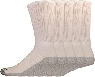 Dickies Genuine Mens 5-Pair Crew Work Socks - White / Grey - Big &