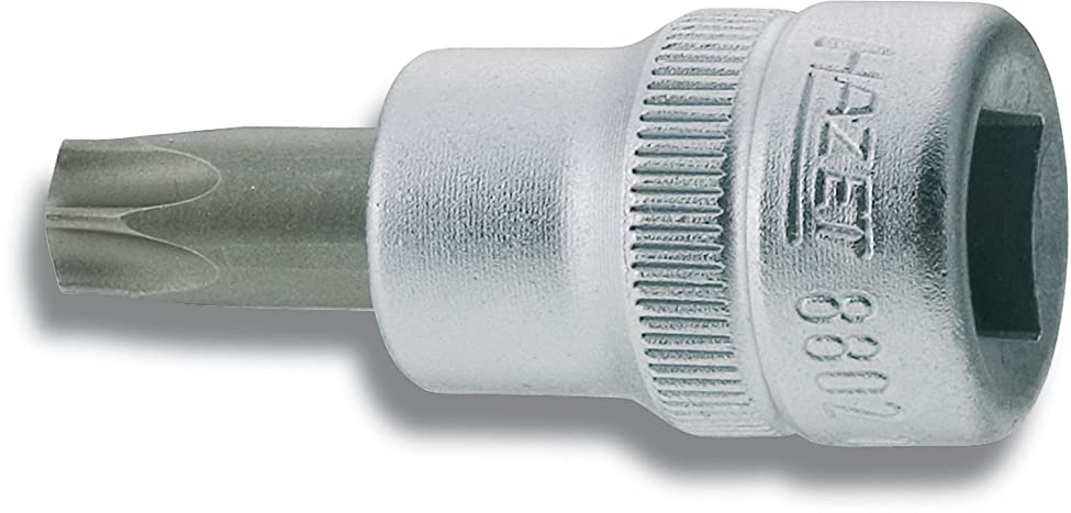 払い戻しマナー話HAZET(ハゼット) TORXビットソケット 8802-T45 二面幅:7.82×差込角:9.5×全長:43.5mm 1個
