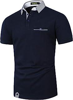 GNRSPTY Polos Manga Corta Hombre Verano Algodon Elegante con Bolsillo Real Casual Camisas Cuadros Golf Deporte Tennis Ofic...