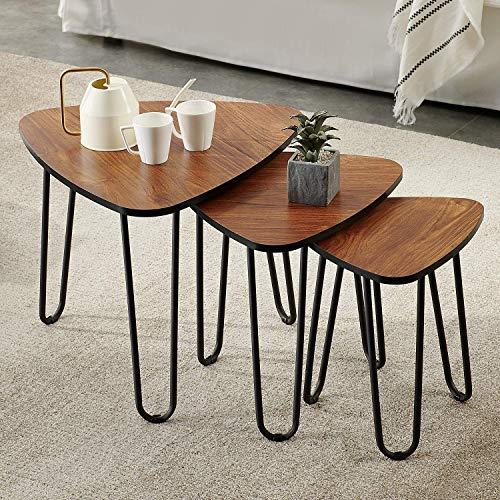 VECELO – Juego de 3 mesas nido de madera, mesa de café con patas de acero negro para el salón o la habitación