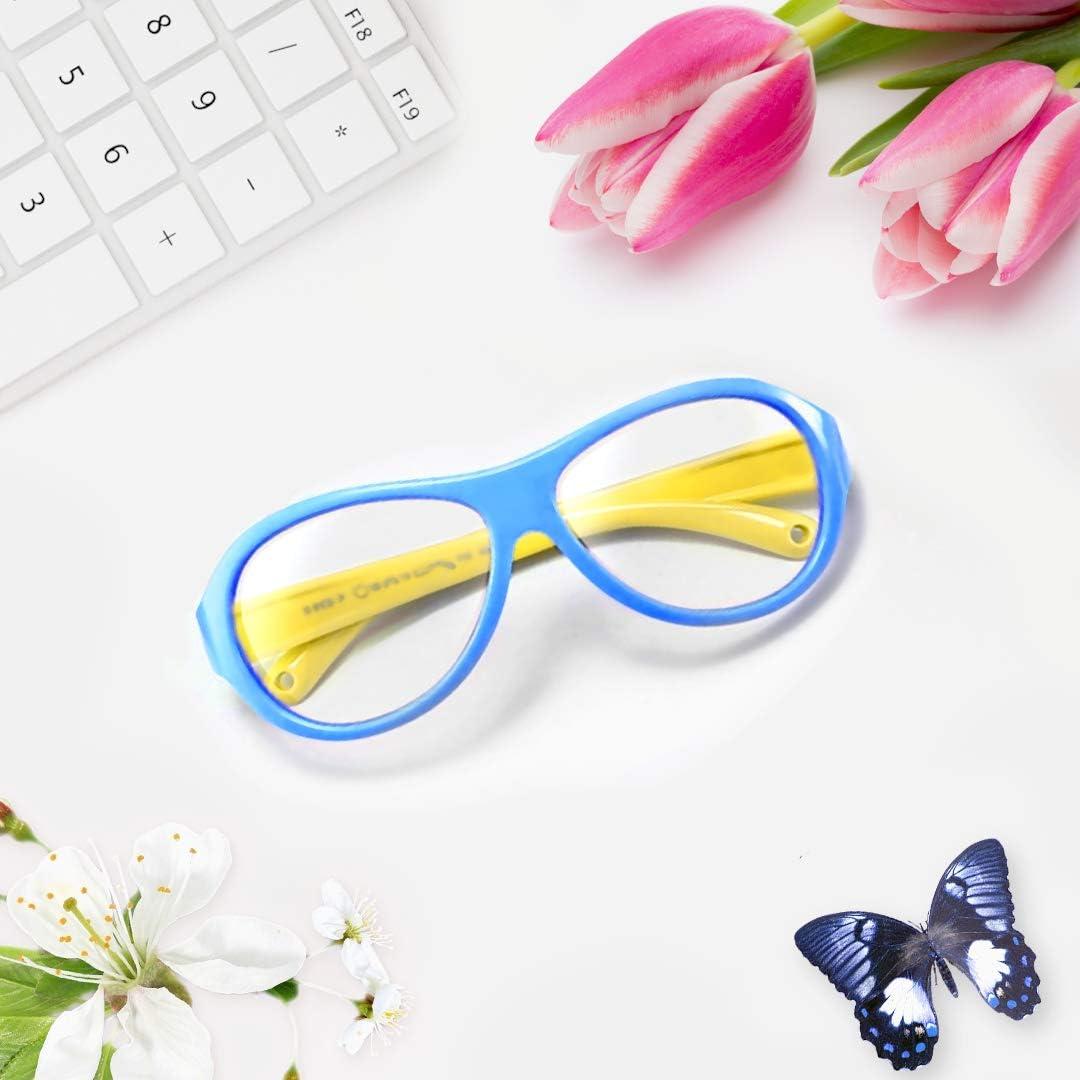 OAXYGEN Kids Blue Light Blocking Glasses (Oval Blue/Yellow)