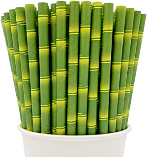Easy Road 250-Pack Biodegradable Paper Straws Bulk - Bamboo Print for Party Supplies, Birthday, Wedding, Bridal/Baby Shower Decorations and Holiday Celebrations