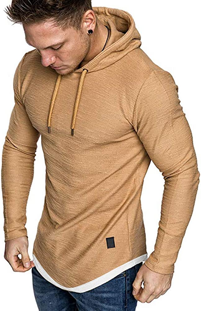 Lexiart Mens Fashion Athletic Shirts Casual Solid Color T-Shirt Slim Fit Sport Tops
