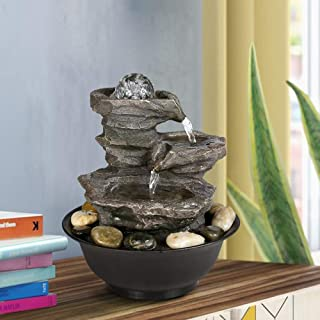 """BBabe 3 Tier Rock Fall Tabletop Zen Fountain 11 2/5"""", Feng Shui Meditation Waterfall Fountain with Crystal Ball Accent and LED Light for Indoor Home Office Decoration"""