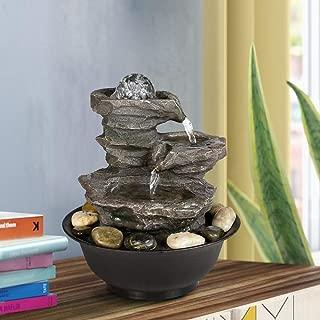 BBabe 3 Tier Rock Fall Tabletop Zen Fountain 11 2/5