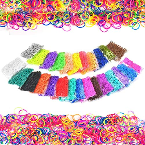 QINGYA 7200 pcs Loom Rubber Bands-26-Colors Loom Bands Refills Kit with 200 Clip Connectors&6 Hooks for Kids Bracelet Weaving DIY Crafting