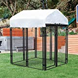 Polar Aurora Dog Playpen House Heavy Duty Large Outdoor Dog Kennel Galvanized Steel Fence with UV-Resistant Oxford Cloth Roof & Secure Lock (4' x 4' x 6')