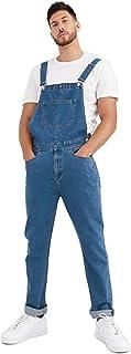 WICIS Tuta da Uomo in Denim da Uomo Tuta da Uomo Lavato Grande E Alto Abbigliamento da Lavoro con Tasca,Blu,M