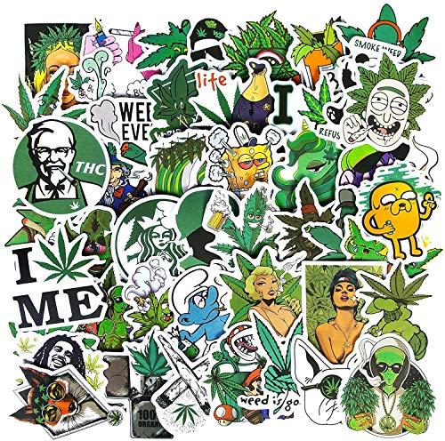 Unkraut Aufkleber,50 Stück wasserdichte Marihuana Weed Stickers für Erwachsene Vinyl Cool Aufkleber für Wasserflaschen, Computer, Telefon, Laptop Aufkleber Decal…