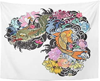 Emvency Tapestry Wall Hanging Dragon and Koi Fish with Flower Tattoo for Arm Japanese Carp Line Drawing Coloring 60