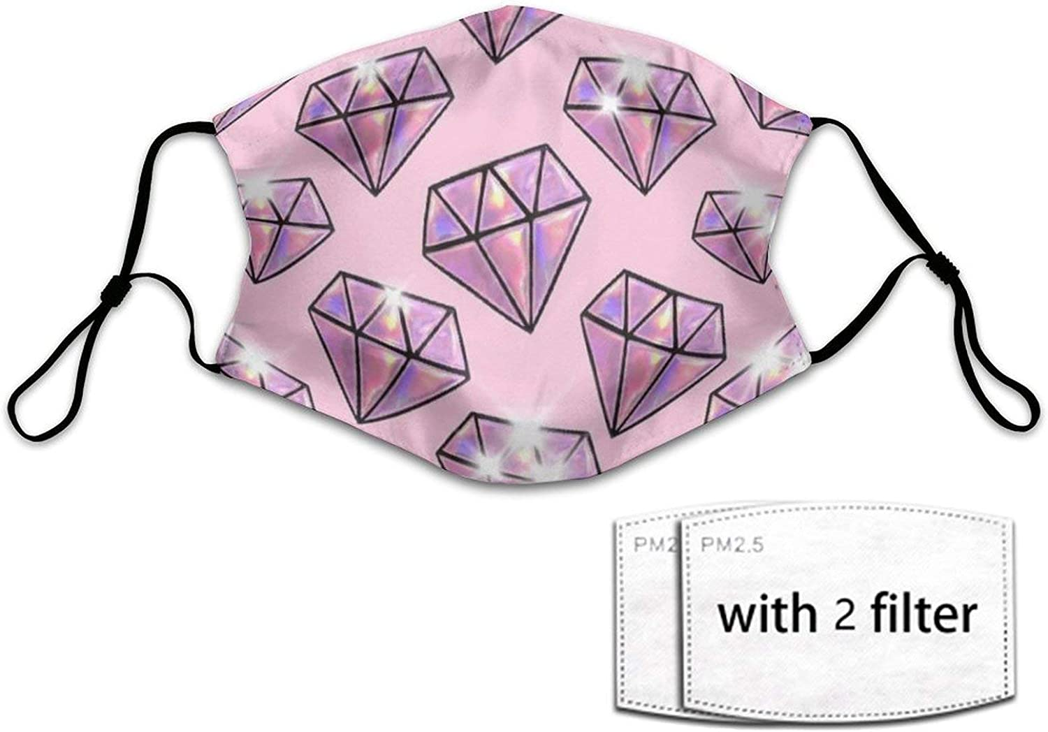 NiYoung Unisex Kids Comfy Protective Masks Neck Gaiter with 2 Filters, Anti Dust Windproof Face Bandana (Pink Diamonds Art Face Covering)