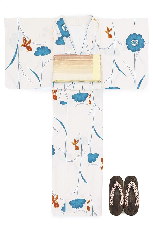(ソウビエン) 浴衣 セット レディース 白系 アイボリー 青 ブルー オレンジ 金魚 花 綿 半幅帯 マクレ ボヌールセゾン