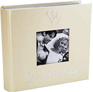 Haysom Interiors Beautiful 1st Wedding Anniversary Photo Album with Double Heart Decoration - Inner Lining Pages to Personalize by Happy Homewares