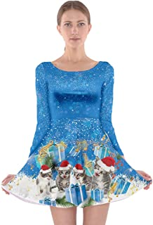 CowCow Womens Christmas Xmas Santa Vintage Snowman Music Cat Winter Long Sleeve Skater Dress