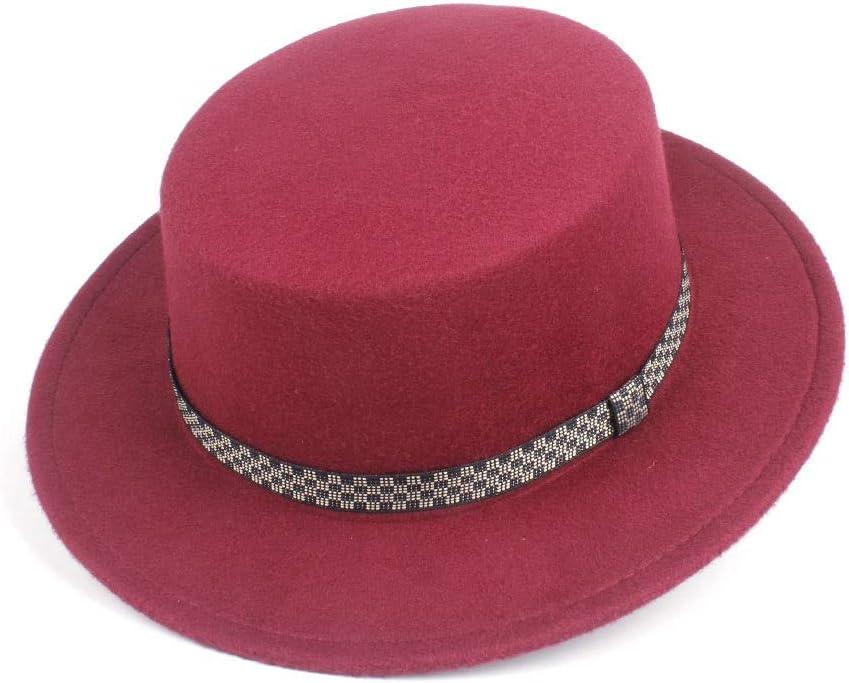 HXGAZXJQ Hxgang Men Women Flat Top Fedora Hat Outdoor Travel Chuch Hat Porpie Party Jazz Fascinator Hat Size 56-58CM (Color : Wine red, Size : 56-58)
