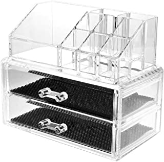 Pentaero 2-Layer Drawer Cosmetic Storage Box, Clear Acrylic Cosmetic Makeup Organizer Storage Organizer, Multi-Function Acrylic Cosmetic Storage, Suitable for Bedroom & Bathroom (Clear)