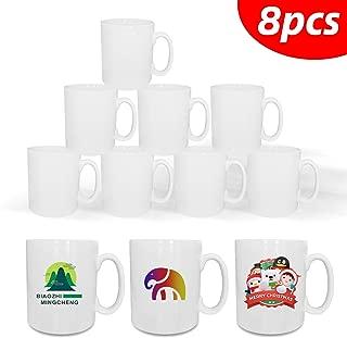 11oz Sublimation Mugs Blank White Coated Ceramic Mugs Coffee Cups Cocoa Milk Tea Mug DIY Gifts,Set of 8