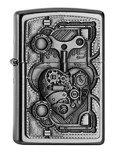 Zippo PL STEAM Punk Heart Feuerzeug, Messing, Edelstahloptik, 1 x 3,5 x 5,5 cm
