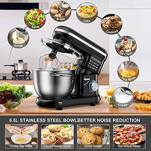 PHISINIC Küchenmaschine Knetmaschine 1500W Teigmaschine Rührmaschine mit 5,5 L Edelstahl Schüssel Geräuscharme Teigknetmaschine inkl 3-Teiligem Patisserie-Set und Spritzschutz-Schwarz - 3