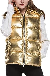 Womens Thicken Vest Puffer Down Sleeveless Metallic Color Hood Coat