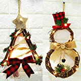 2Pack Christmas Wreath LED Front Door Wreaths, Snowman Artificial Wreaths with LED Fairy String Lights Bow Pine Cones Red Berries Plaid Bow-Knot for Xmas Home Wall Window