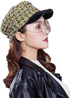 6f2869d5927ae Esqlotres Women Fashion Duck Tongue Cap Multicolor Lattice Berets Flat Top  Navy Cap Newsboy Caps
