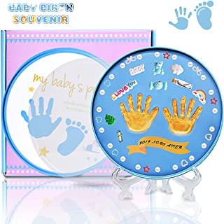 Newborn Baby Handprint (with Accessories) Footprint Lasting Keepsake Kit for Girls and Boys, Easy to Use Handprint Tin,Perfect Registry,Baby Shower & Newborn Gift,Non-Toxic Soft Clay (Blue)